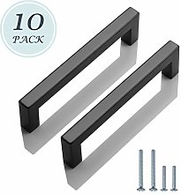 10 Pack 160mm Kitchen Cabinet Handles Black