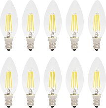 10 Pack 4W E14 Dimmable LED Filament Candle Bulb