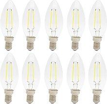 10 Pack C35 2W LED Filament Candelabra Bulb Cool