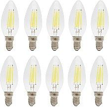 10 Pack LED Filament Candelabra E14 C35 4W Light