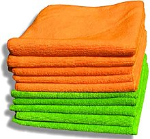 10 Pack Premium Quality Orange & Green Microfibre