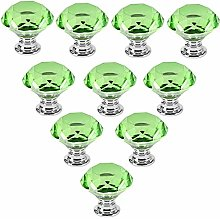 10 PCS Green 40MM Flat Round Crystal Glass Cabinet