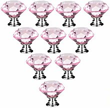 10 PCS Pink 40MM Flat Round Crystal Glass Cabinet