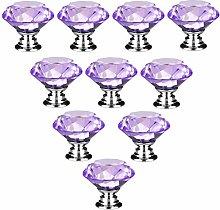 10 PCS Purple 40MM Flat Round Crystal Glass