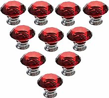 10 PCS Red 40MM Flat Round Crystal Glass Cabinet