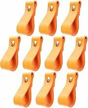10 pcs/Set Handmade Leather Cabinet Handle Pulls