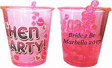 10 Personalised Hen Party Shot Glass Glasses Hen