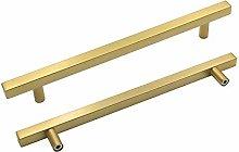 10 Piece Kitchen Cabinet Handles Brushed Brass