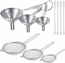 10 Pieces Stainless Steel Funnels Set, 6 Pieces