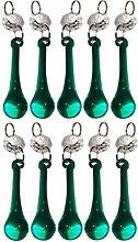 10 Retro Peacock Dark Green Chandelier Drops