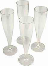 10 x Gold Glitter Prosecco Flutes – Made from