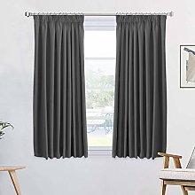 100% Blackout Charcoal Grey Pencil Pleat Curtains