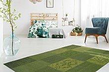 100% Cotton Flat Pile Rug Patchwork Design Multi