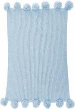 100% Cotton Sky Blue Knitted Blanket Soft Rug Bed