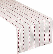 100% Cotton Striped Red Heart Table Runner -