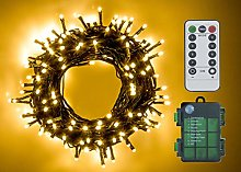 100 LED Battery Operated Christmas Lights On Dark