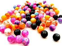 100 Marbled Mottled Glass Beads 8mm Mixed Colours
