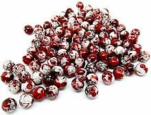 100 Red/White Drawbench Glass Beads - 8mm - Round