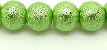 100 Spring Green Glass Beads - Textured Stardust