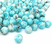 100 Turquoise/White Drawbench Glass Beads - 8mm -
