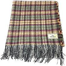 100% Wool Blanket/Throw/Rug - Purple & Green Check