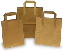 100 x Brown Paper Take Away Food Bag with Flat