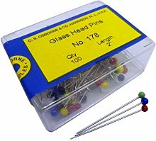 100 x Glass Headed Upholstery Sewing Pins Osborne
