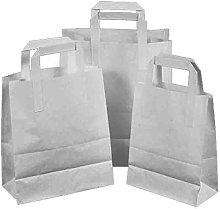 100 x White Paper Take Away Food Bag with Flat