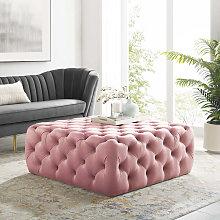 100CM Square Velvet Buttoned Footstool, Pink