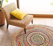100cmx100cm Round Circular Jute with Coloured