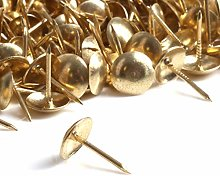 100x Brass Decorative Upholstery Nails - 10mm