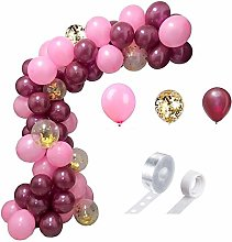 102 Pcs Pink Wine Red Garland & Arch Balloons Set,