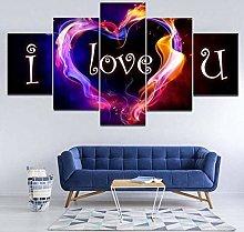 104Tdfc Canvas Picture 5 Part Panels I love You