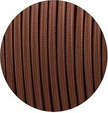 10Meters 2 Core Roud Brown Italian Vintage Braided