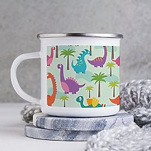 10oz Enamel Mug, Funny Coffee Mug, Cute Dinosaur
