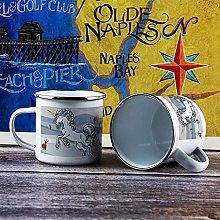 10oz Enamel Mug, Funny Coffee Mug, Drawing White