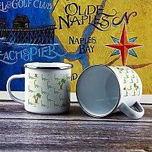10oz Enamel Mug, Funny Coffee Mug, Green Animal
