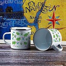 10oz Enamel Mug, Funny Coffee Mug, Green Plant