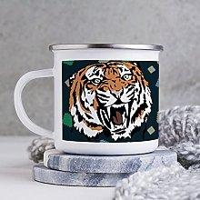 10oz Enamel Mug, Funny Coffee Mug, Tiger Animal