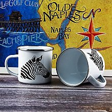 10oz Enamel Mug, Funny Coffee Mug, Zebra Head