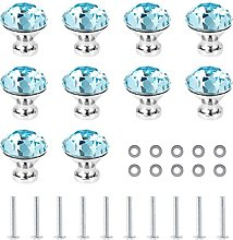 10pc Crystal Door Knobs 30mm Glass Drawer for