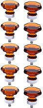 10PCS 35mm Crystal Octagon Knobs Glass Cabinet