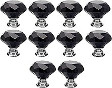 10Pcs Black 30mm Crystal Glass Cabinet Knobs