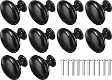 10pcs Black Zinc Alloy Cabinet Drawer Knobs Round
