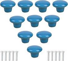 10Pcs Blue Ceramic Drawer Knobs Cabinet Drawer