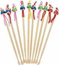 10Pcs Cartoon Doll Bamboo Earpick Spoon Clean