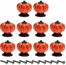 10Pcs Ceramic Pumpkin Door Handle Pulls Cupboard