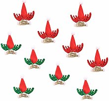 10pcs Christmas Mini Reindeer Anlter Santa Hats