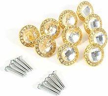 10pcs Clear Diamond Crystal Glass Wardrobe Knob