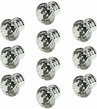 10pcs Clear Glass Crystal Cabinet Knobs Diamond